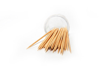 small pile of wooden toothpick for hygiene