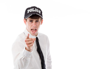 model isolated on plain background nagging scolding with finger