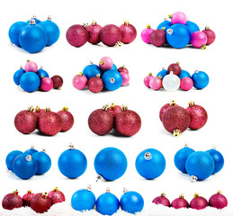 Collection of colored christmas balls,