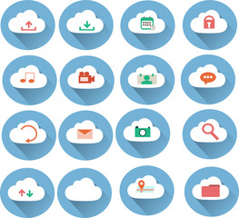 Long Shadow Flat icon with cloud concept