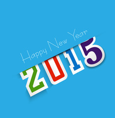 Happy new year 2015 text design blue colorful vector background