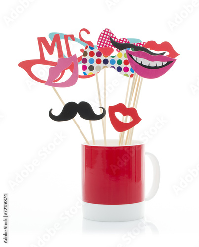 Photo Booth Props in a Red Mug - 72126874