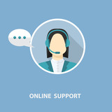 Vector online support concept poster