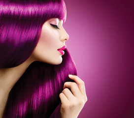 Beauty woman with perfect makeup and coloring Purple hair