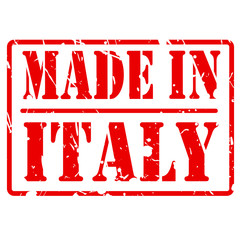 Made in italy red stamp text