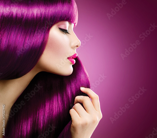 Beauty woman with perfect makeup and coloring Purple hair - 72127442
