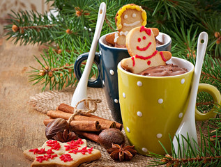 Hot chocolate and Christmas gingerbread