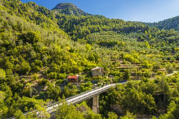 Brücke und Gebirge