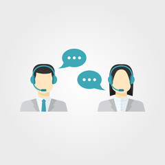 Icons set Male and female call center avatars