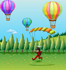 Balloons and parachute