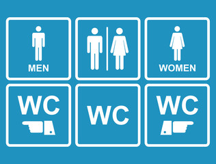 Male and female WC icon denoting toilet , restroom facilities
