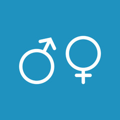 Male and female white icon on blue background