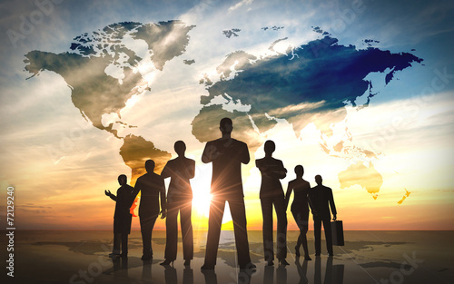 Global Business people team silhouettes - 72129240