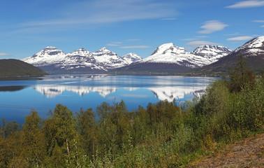 Norway fjord at spring near Tromso