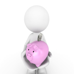 People-human character with piggy bank and Us money