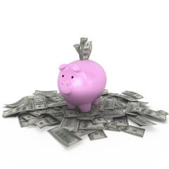 Piggy bank and Us money