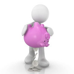 human character with piggy bank and silver coin