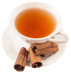 A cup of tea and cinnamon stick