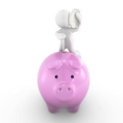 People-human character with piggy bank and silver coin