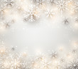 Christmas background with glowing snowflakes.