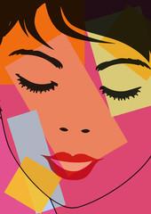 Portrait de femme aux yeux fermés