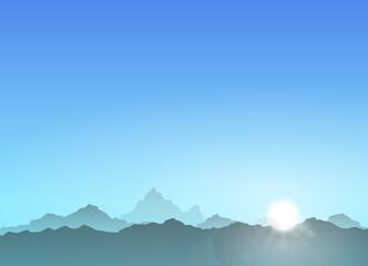 Gebirge blau Sonne