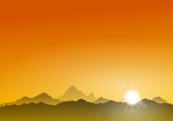 Berge Sonne orange