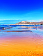 canvas print picture - Orange und blauer Strand bei Ebbe