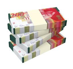 Israeli Shekel money isolated on white background