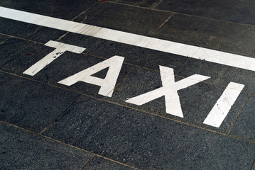Taxi Stand Sign on the road