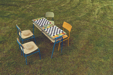 Vintage Chess Board outdoors