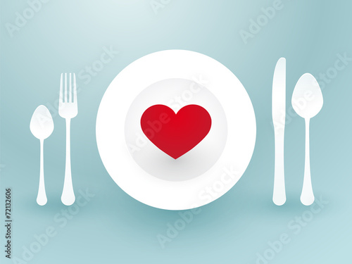 fork knife and a red heart on a plate - 72132606