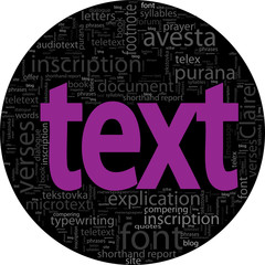 text concept  black backgroung in word tag cloud isolated