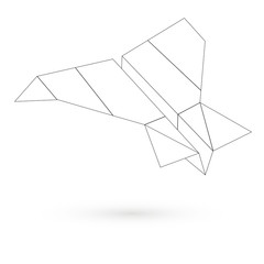 Icon paper airplane. Raster