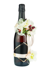 Champagne Bottle with Wedding Decoration of Flower Arrangements
