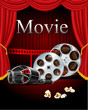Film movies cinema with red curtain in the theater vector - 72134085