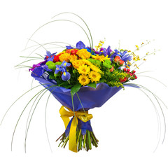 Bouquet from Orchids, Roses and Gerbera Flowers Isolated on Whit