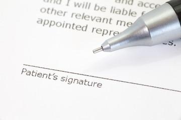 Close - up Patient information form at Patient