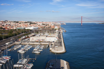 Lisbon and Belem Marina at Tejo River in Portugal