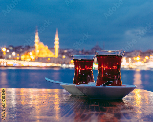 Aluminium Turkey Typical Turkish Tea with Istanbul City on Background