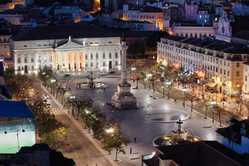 Rossio Square at Night in Portugal