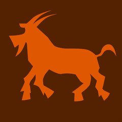 Goats, symbol of the Chinese Year. Vector Illustration.