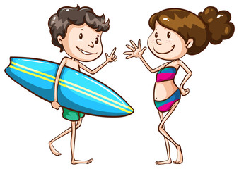 A simple sketch of two people going to the beach