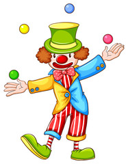 A coloured sketch of a clown juggling