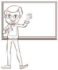 A plain drawing of a male teacher