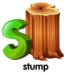 A letter S for stump