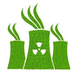 Green nuclear power plant icon isolated on white background