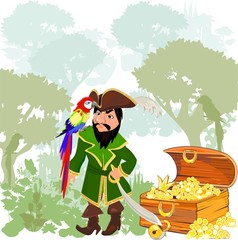 Pirate with parrot macaw and treasures