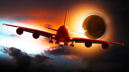 Passagierflugzeug landet bei Sonnenfinsternis