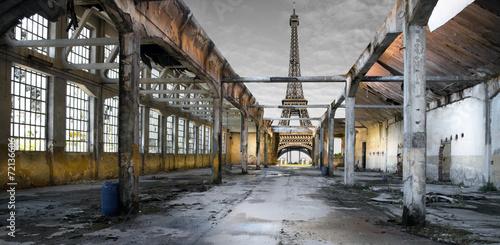 Foto op Canvas Rudnes Paesaggio di Parigi post apocalittico